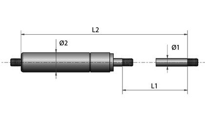 Disegno tecnico - Filettatura alle due estremità – verniciata in nero