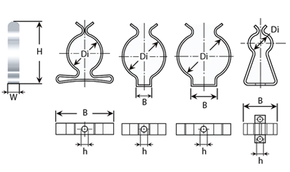 Clip sagomate in nastro - Disegno tecnico
