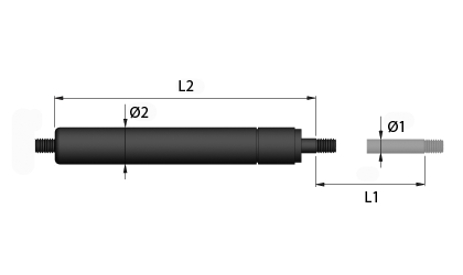 Technical drawing - Gas springs - extension version